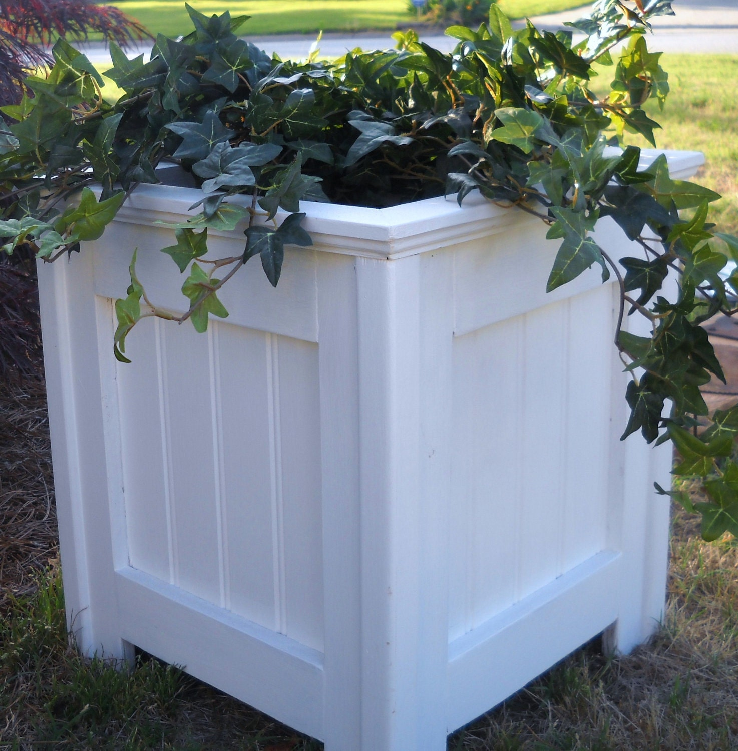 To planter outdoor planter shabby chic white planter on etsy