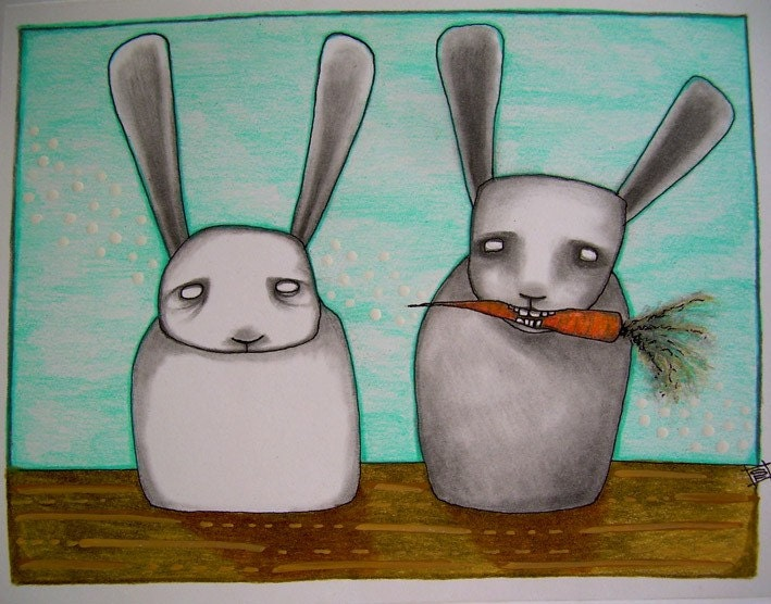 Fine Art hand drawn note card pop surrealism carrot eaters 4.25x5.5in