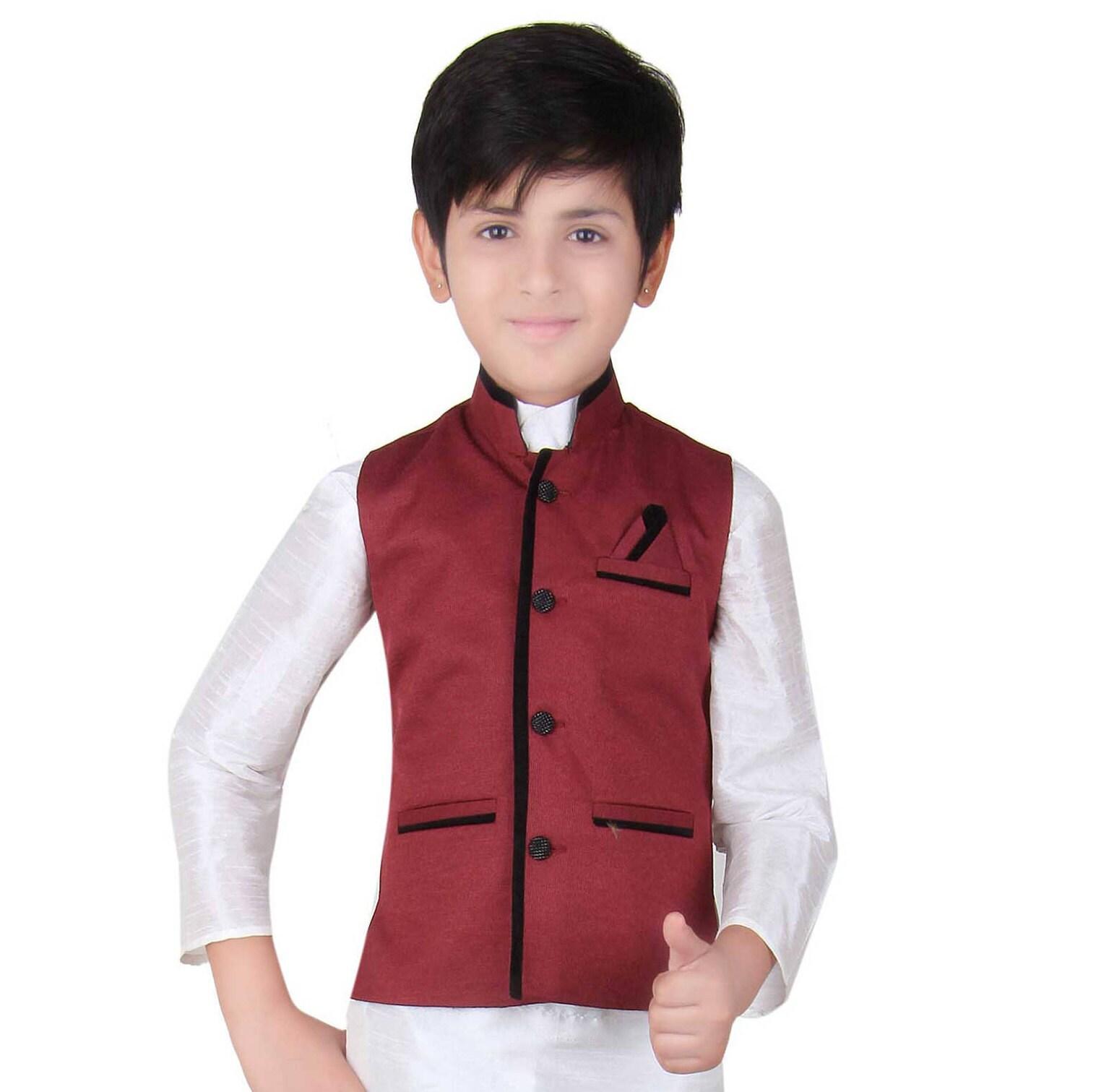 Indian Boys in Maroon Nehru Modi style waistcoat for Kurta pajama sherwani ideal Bollywood theme party   wedding online shops London UK 003