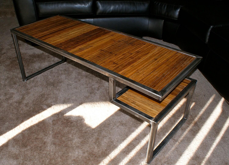 De Acero Mesa de centro con Top recuperada de bambú y estante
