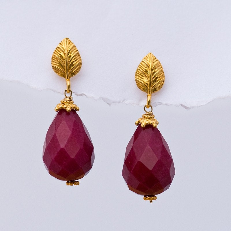 Large Ruby Quatz Drops and 22K Gold Vermeil Earrings