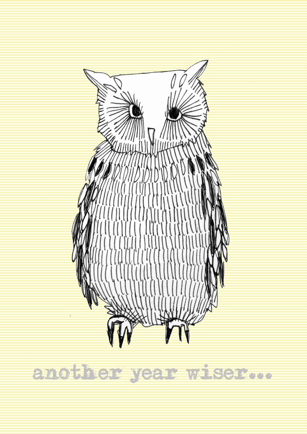 another year wiser, owl birthday card