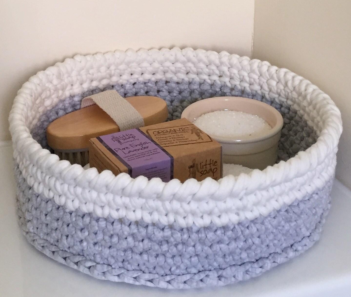 Crochet storage basket  nursery toy bathroom storage bread fruit basket recycled natural yarn