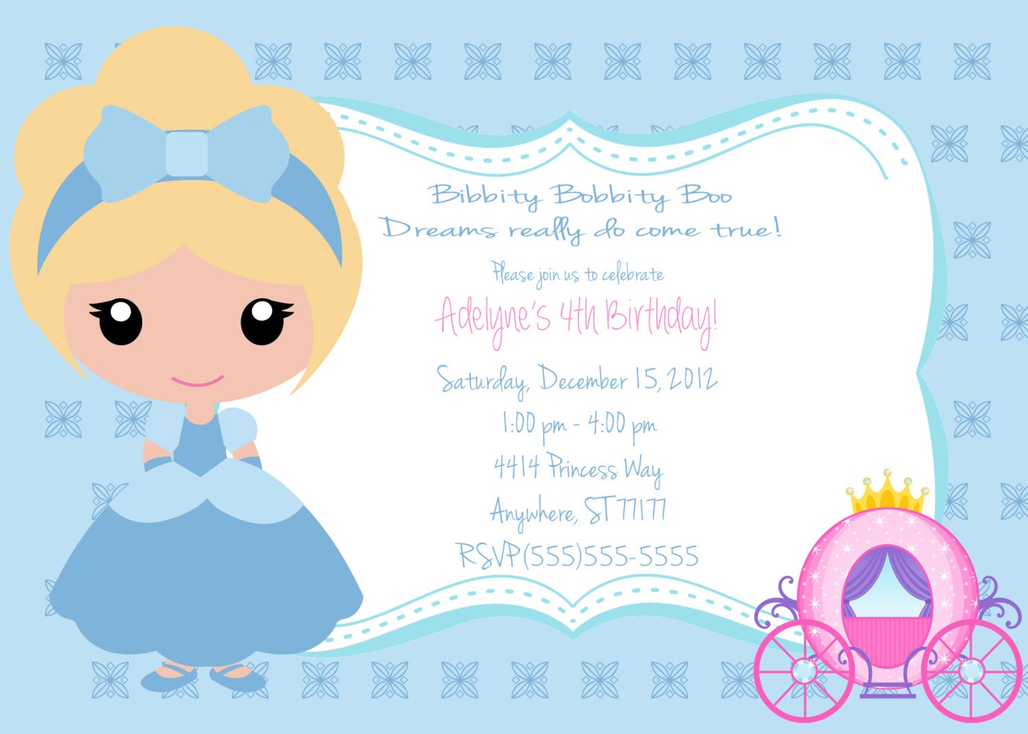Little Girls Cinderella Invitation by partypassiondesign on Etsy