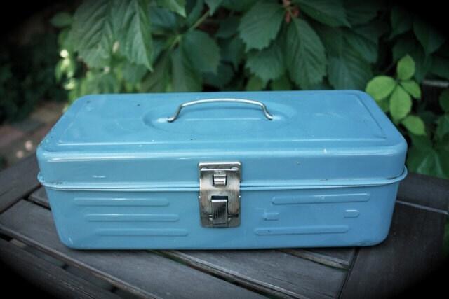 VIntage Robin's Egg Blue Tackle box
