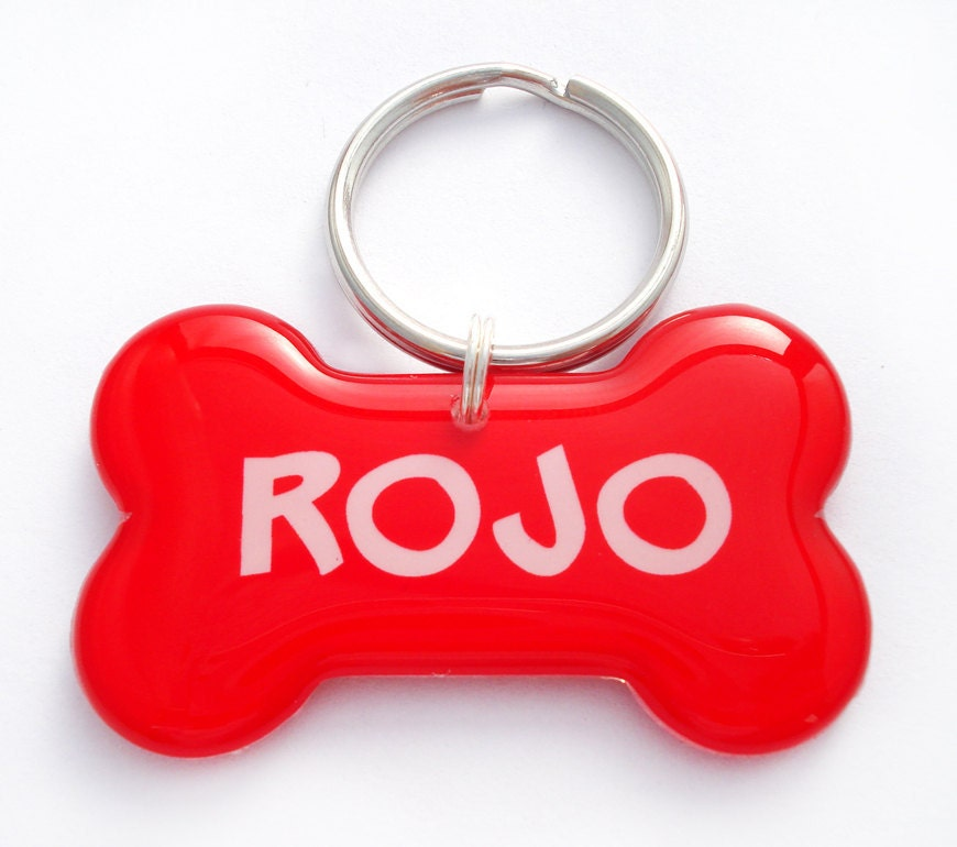ON SALE  Red Dog Bone Shape Pet Tag by HappyTags on Etsy from etsy.com
