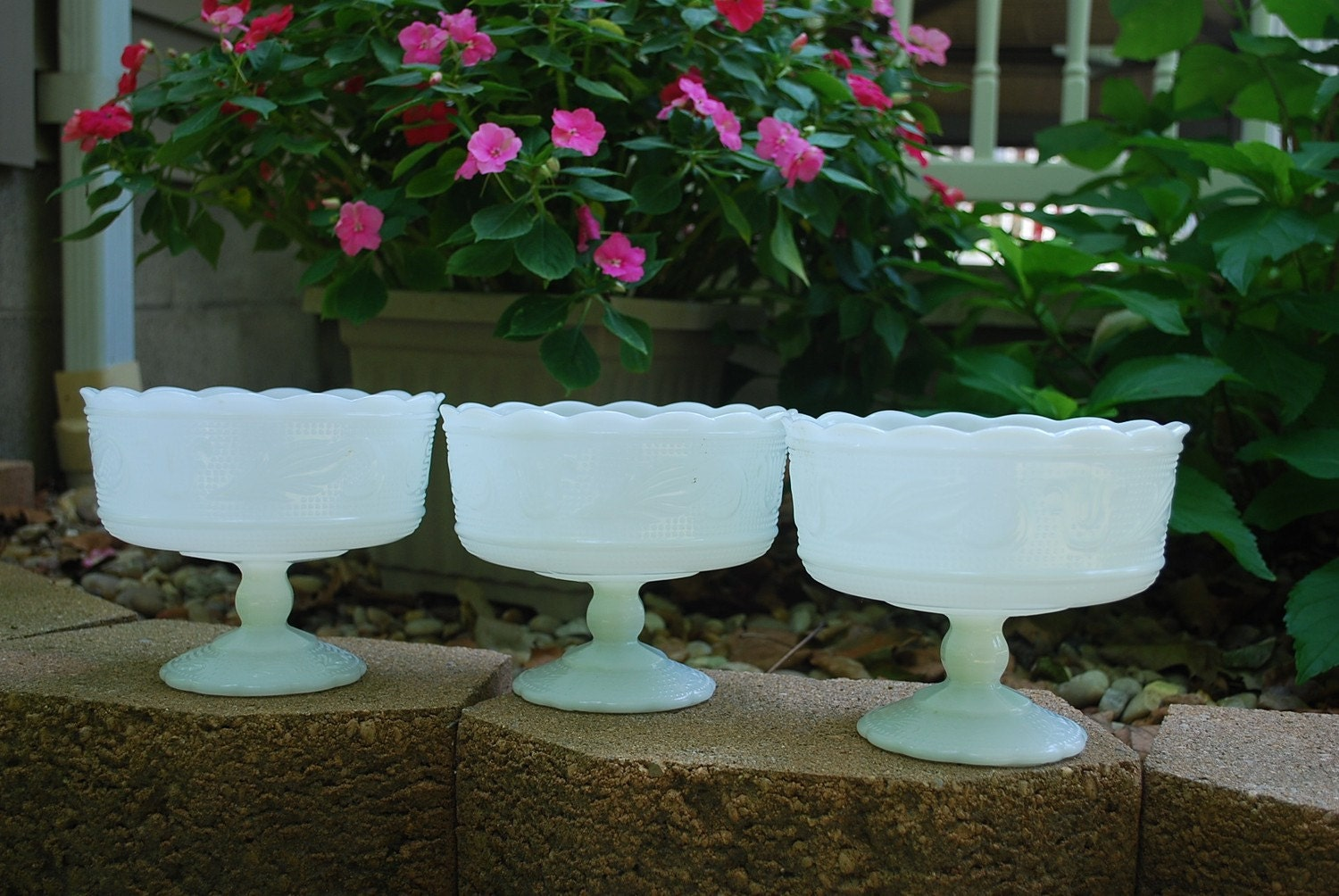 Three Matching Milk Glass Compotes