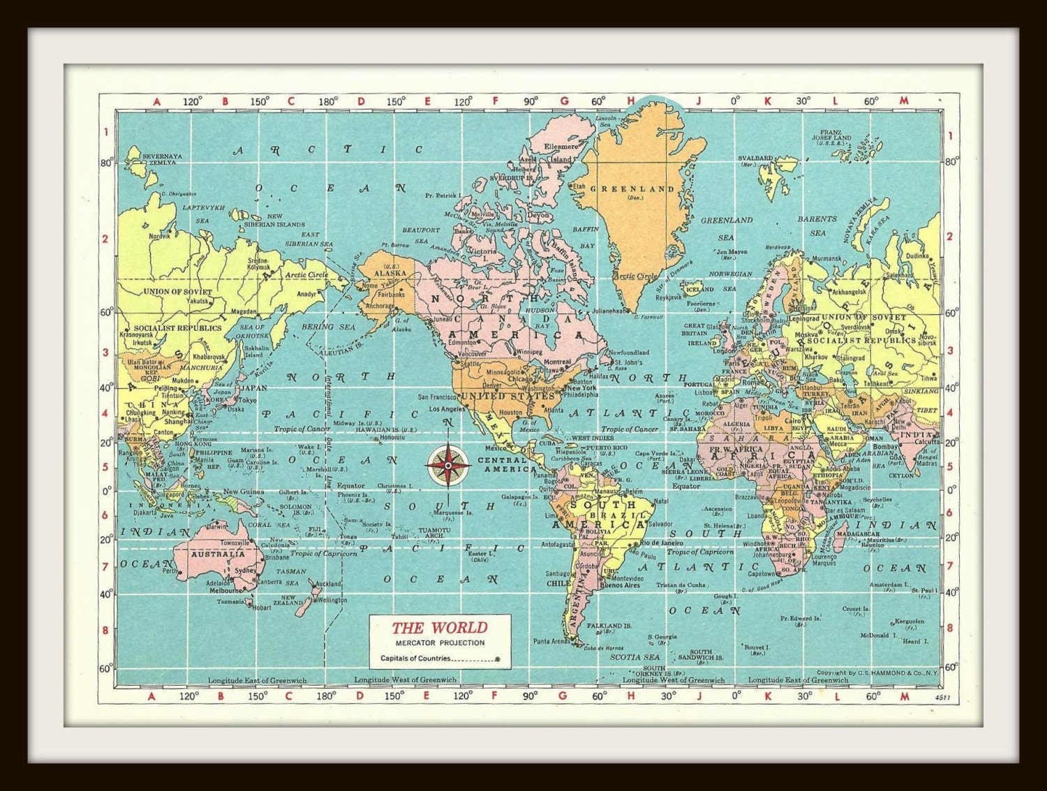 Vintage World Map Collectible 1950s Full by StevesVintageArt