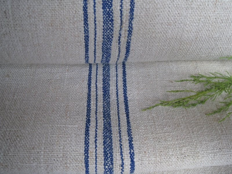 antique cushy SWEDISH BLUE handloomed hemp linen 11.80y for curtains