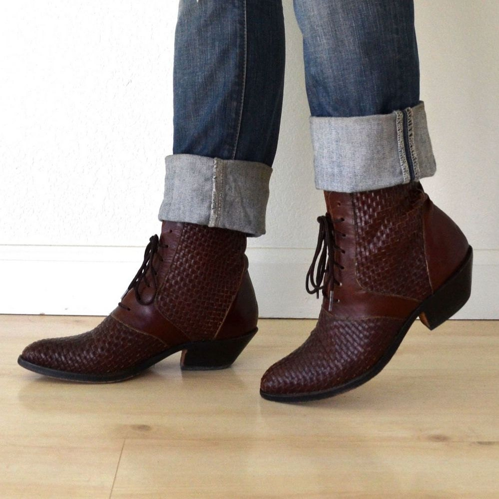 vintage brown leather lace up ankle boots by