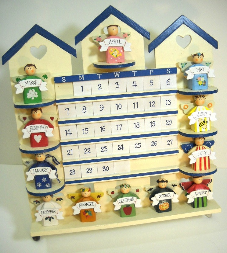 Wood calendar folk perpetual calendar wooden by wallstantiques - Wooden perpetual wall calendar ...