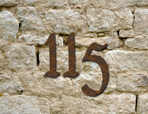 set 3 rustic house numbers 3 inch up to 8 by With rustic house numbers letters