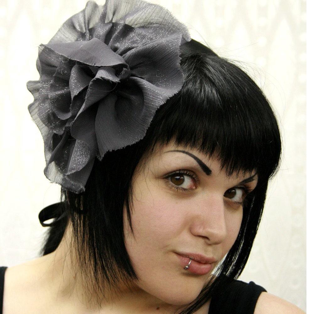 Charcoal Sparkle Grey Satin Bow Belt/Hair Piece