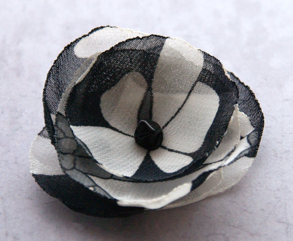 Black and white chiffon flower brooch