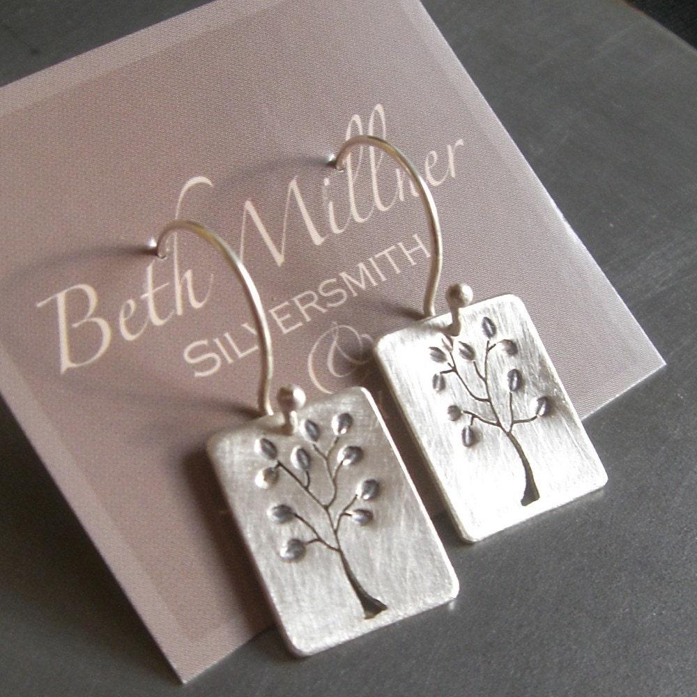 Reversible Small Leafy Silver Tree Earrings