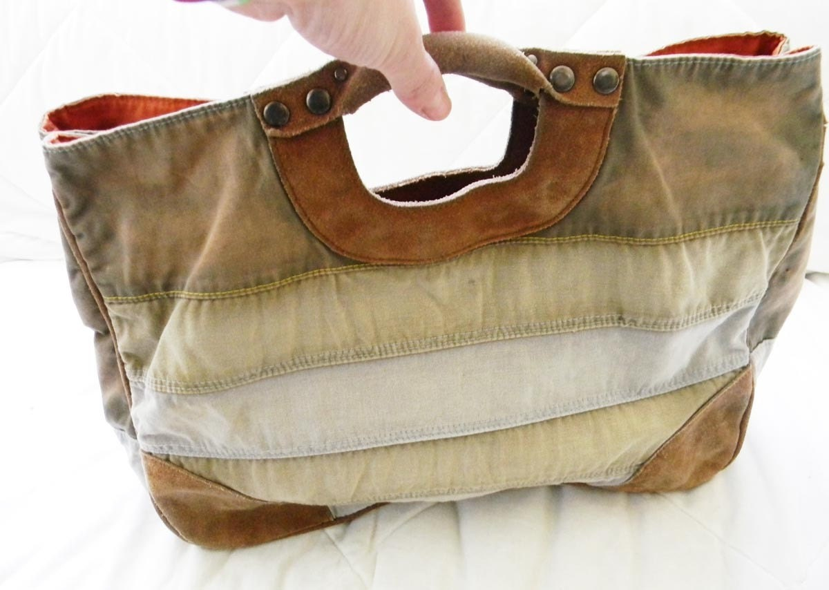 Distressed Leather and Canvas Tote