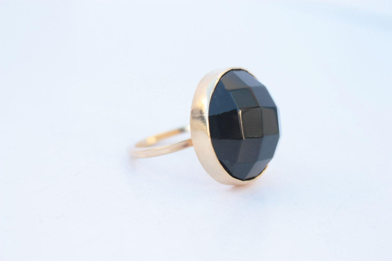 Black gemstone ring - Gold ring -  Bezel ring - Agate Stone - Adjustable size - UNIQUE - Handmade - PleiadesJewel