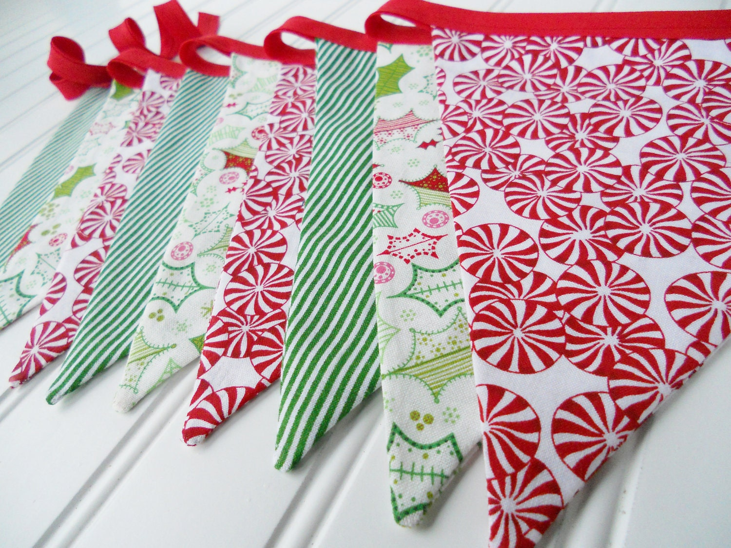 Christmas Bunting Banner Garland Fabric By