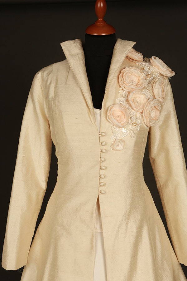 Floral champagne silk bridal coat jacket full length floral detail.