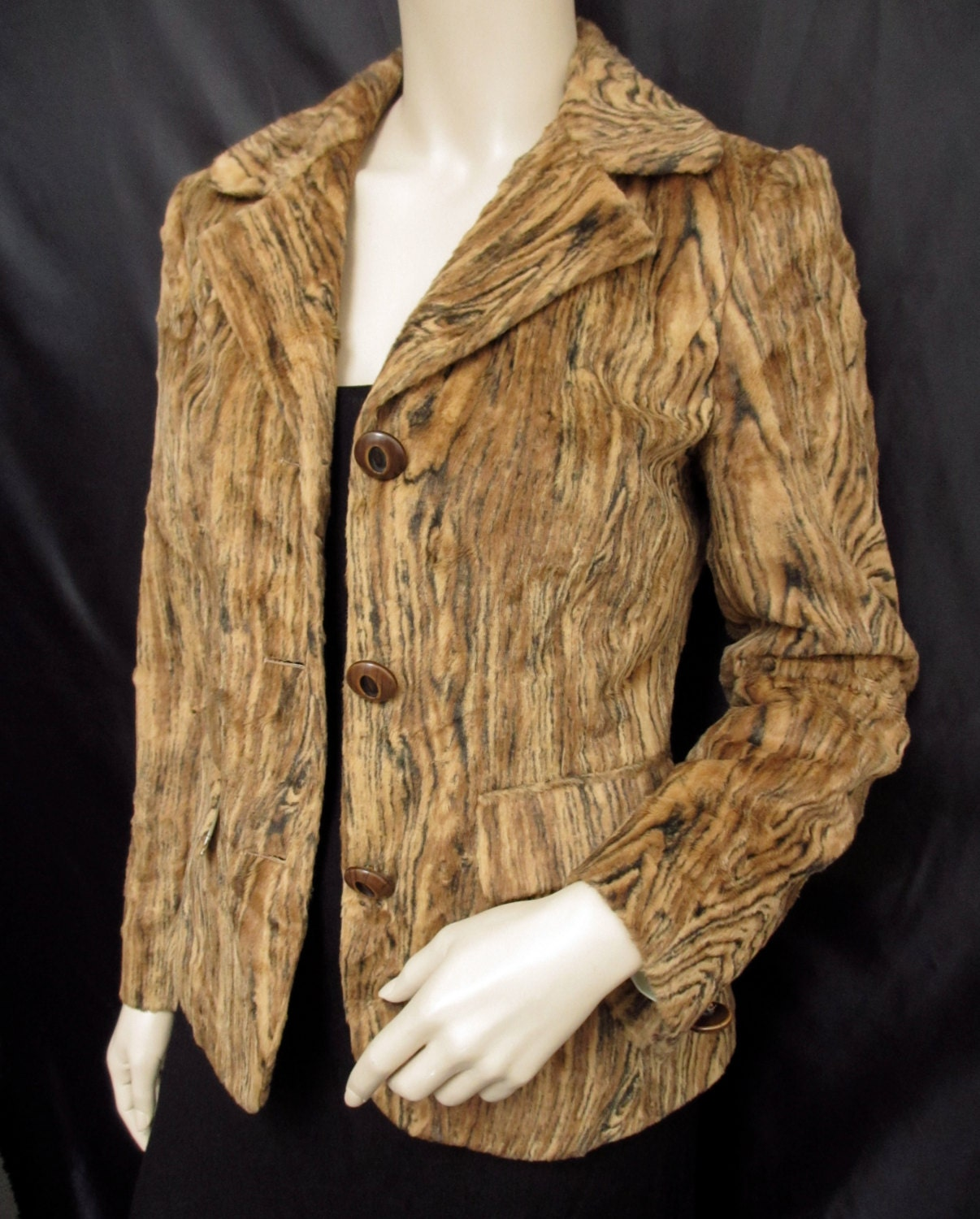 Vintage 1990s 90s Tan Brown Tiger Print Iceberg Jacket Made In Italy Size UK 8 small