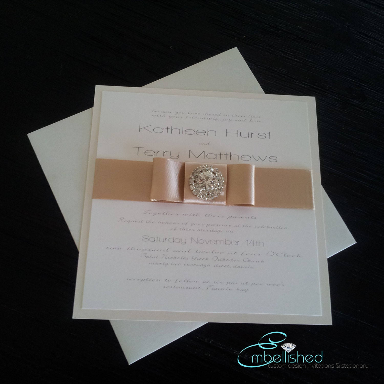 Elegant Wedding Invitations With Crystals: Unavailable Listing On Etsy