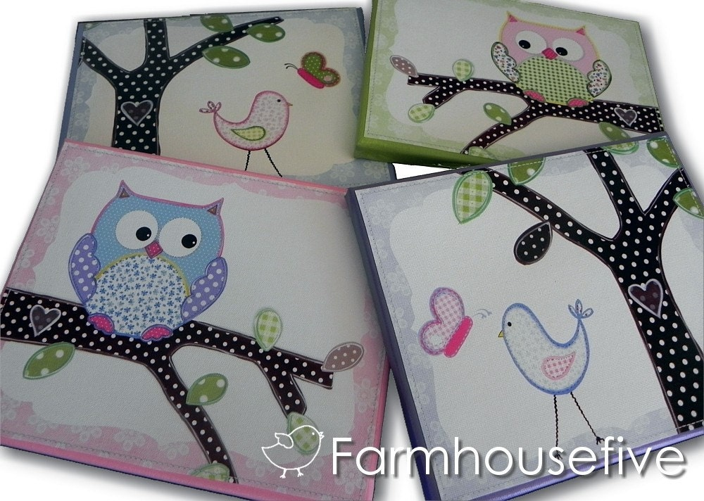 Hayley Owl n Birdie -- FOUR 11x14 Canvas Wall Art Set -- Ready to Hang