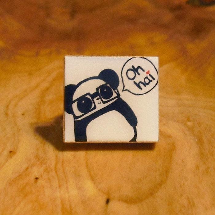 Oh Hai Thar Nerdy Panda Scrabble Tile Ring - Bronze (Adjustable)