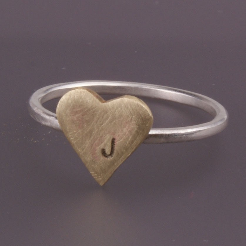 Heart Initial Brass and Sterling Silver Ring - Free Shipping