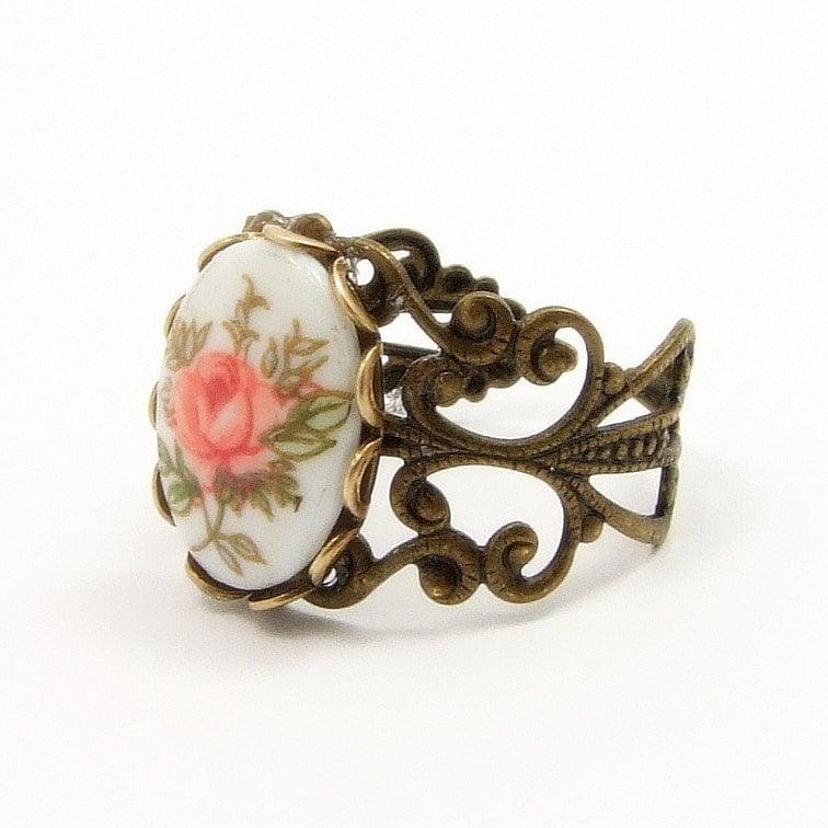 Vintage Pink Rose Cameo Ring