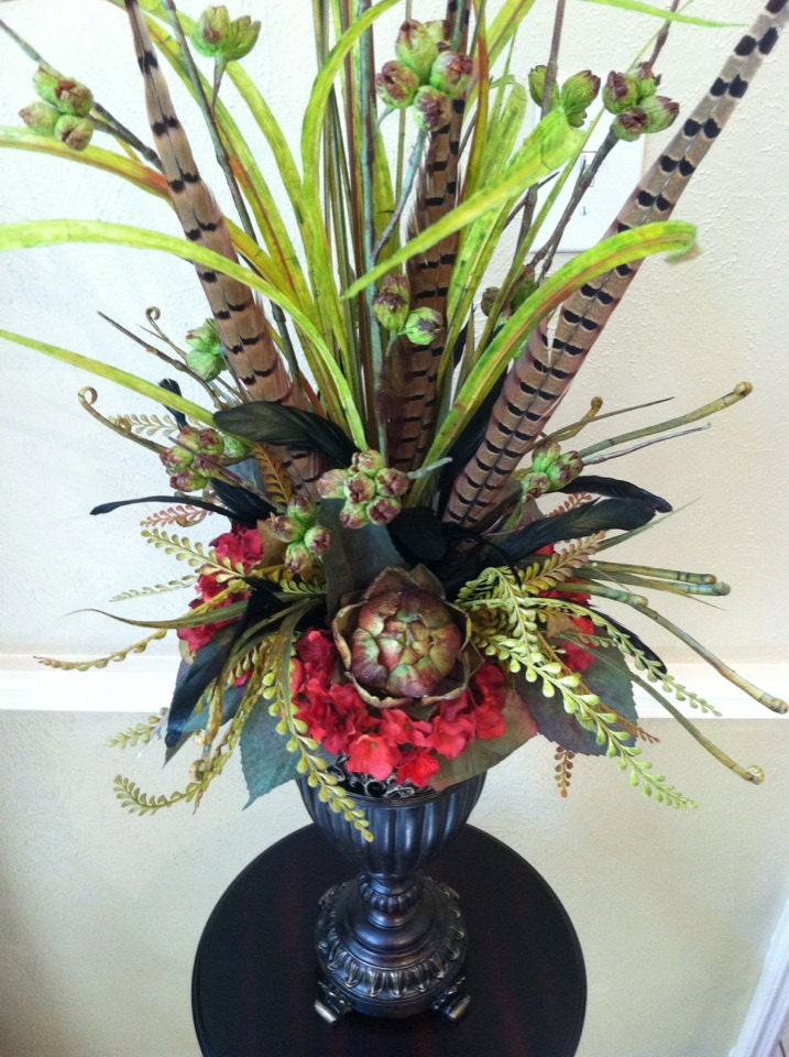 Elegant tall faux floral arrangement artichoke amp red hydrangea silk