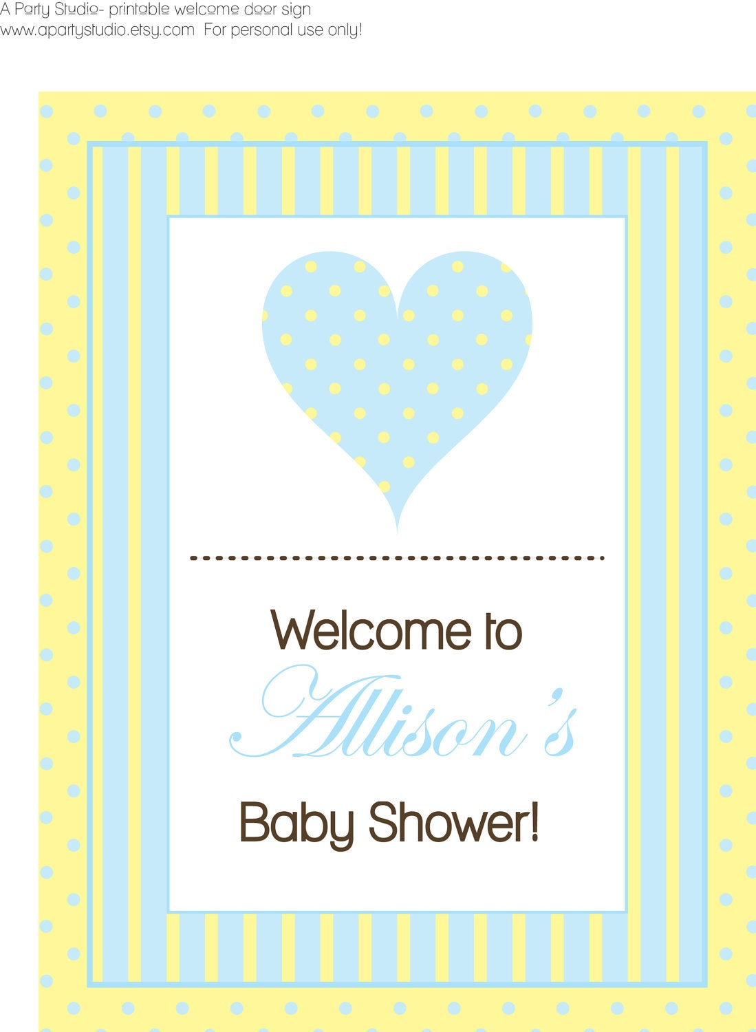 baby shower welcome sign blue and yellow print by apartystudio