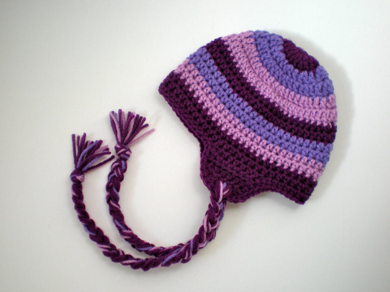 PATTERN: Striped Earflap Hat Easy Crochet Sizes by swellamy