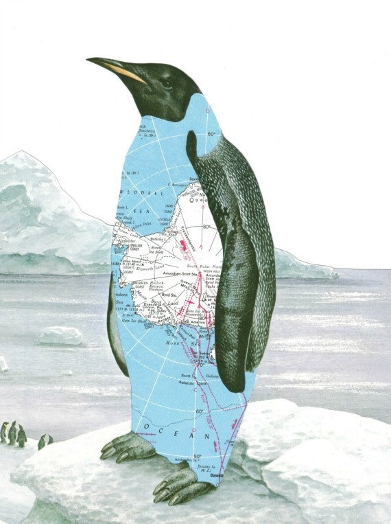 Print of Paper Collage Art Penguin Art Antarctica Map Art Arctic Iceberg - dadadreams