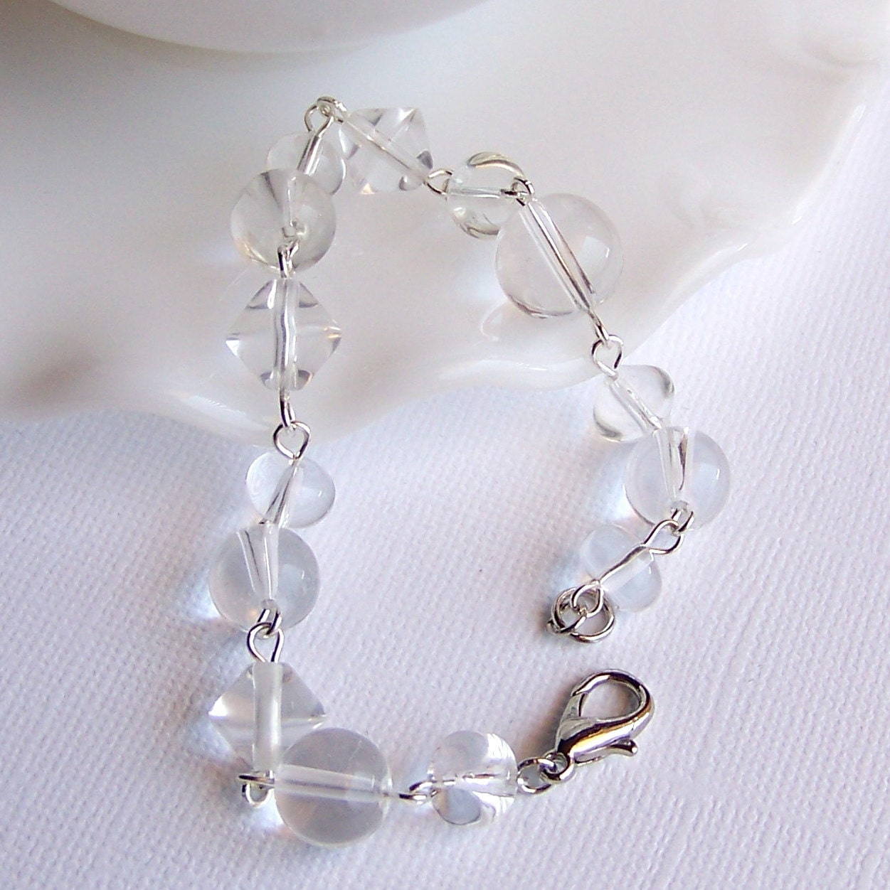 Clear Glass Beaded Bracelet 8in/20cm