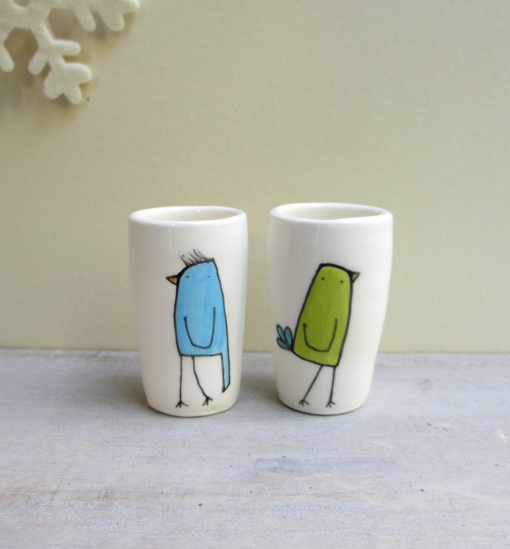 Bird vase, two mini bird bud vases, green and blue, winter garden vases, stocking stuffers, hostess gift
