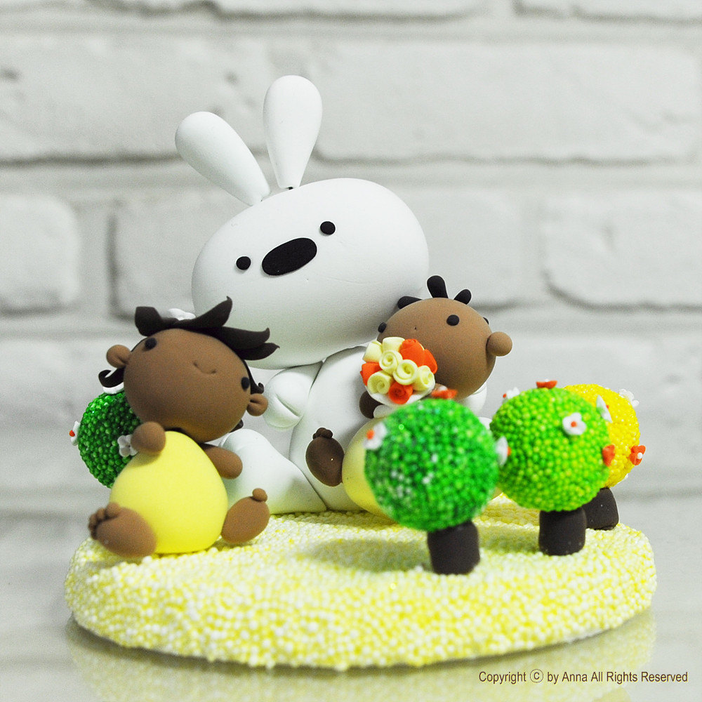 Cute twin birthday cake topper with Bunny