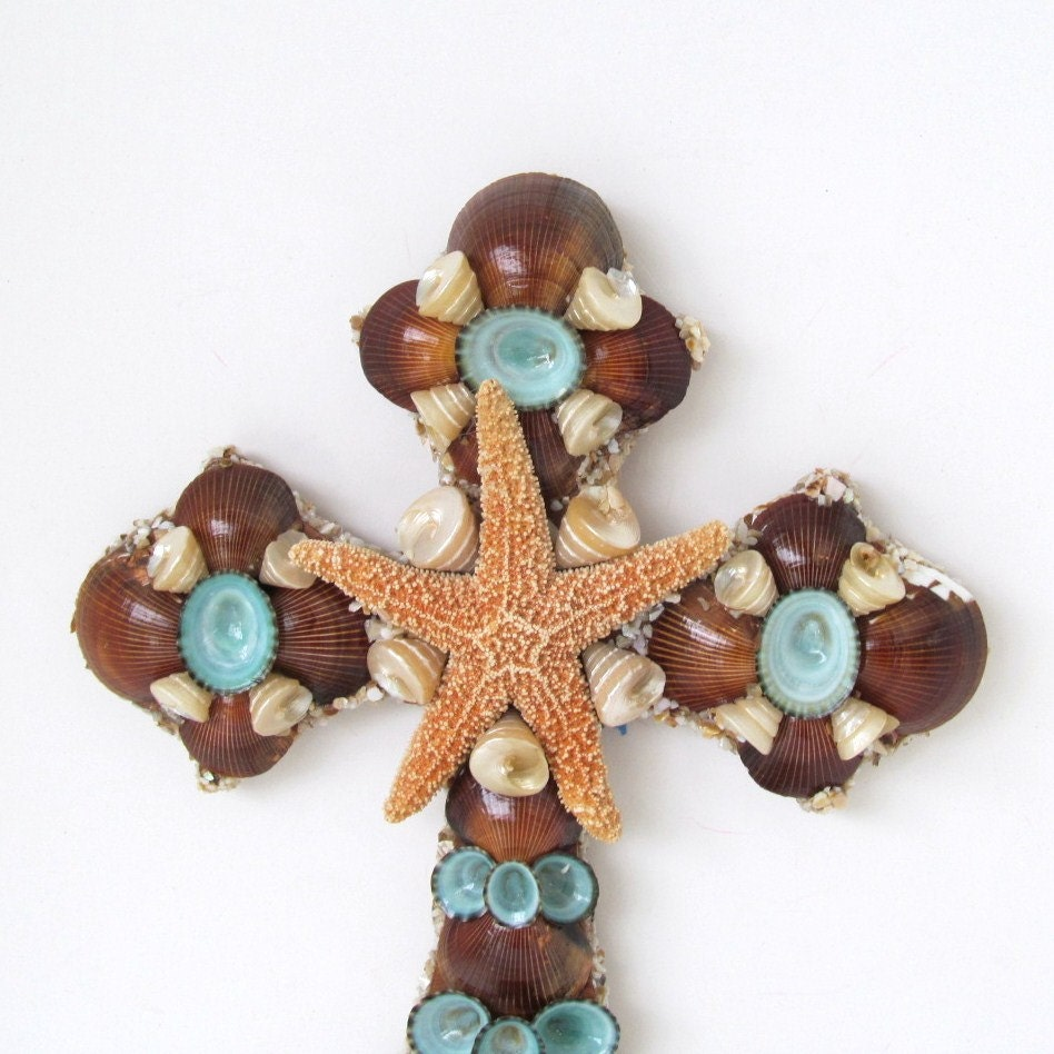 cross shells wall art brown and turquoise by sandisshellscapes. Black Bedroom Furniture Sets. Home Design Ideas