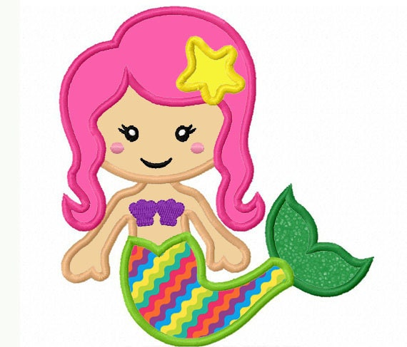 Mermaid applique machine embroidery design by