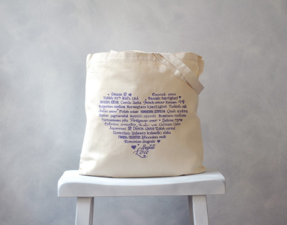 LOVE Languages Tote Bag - Amethyst on Natural - Cotton Canvas