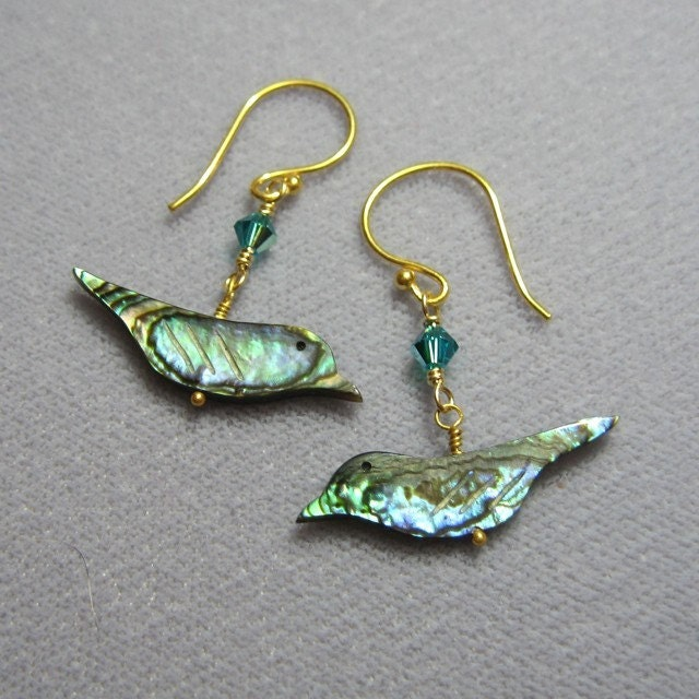 Shiny bird earrings - paua shell and turquoise crystals on 22k gold plated sterling silver earwires