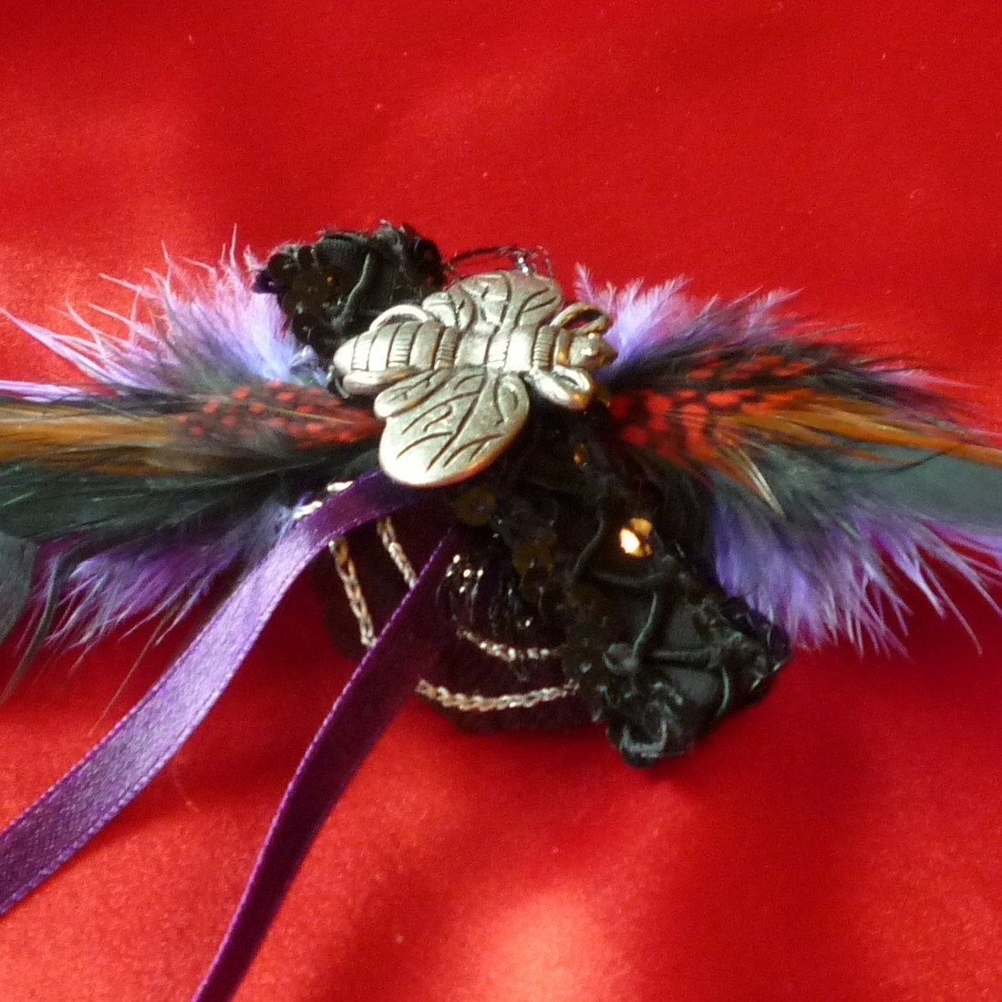 Hair Fascinator,  Insect Barrette, Barrette Feathers, Hair Decoration by mystic2awesome