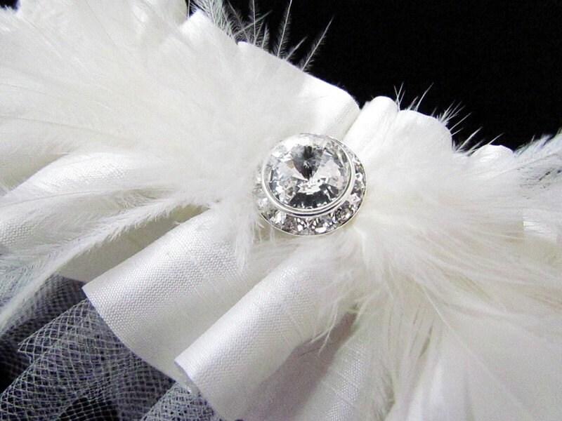 SATINE Silk Dupioni Rhinestone and Feather Bridal Garter Set