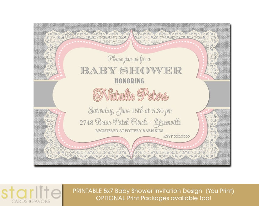 Vintage Style Baby Shower Invitation Pink and Gray
