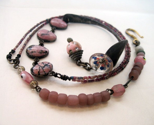 The Nurturer. Dusty Pink Triple Wrap Rustic Assemblage bracelet with spoon and rhodonite.