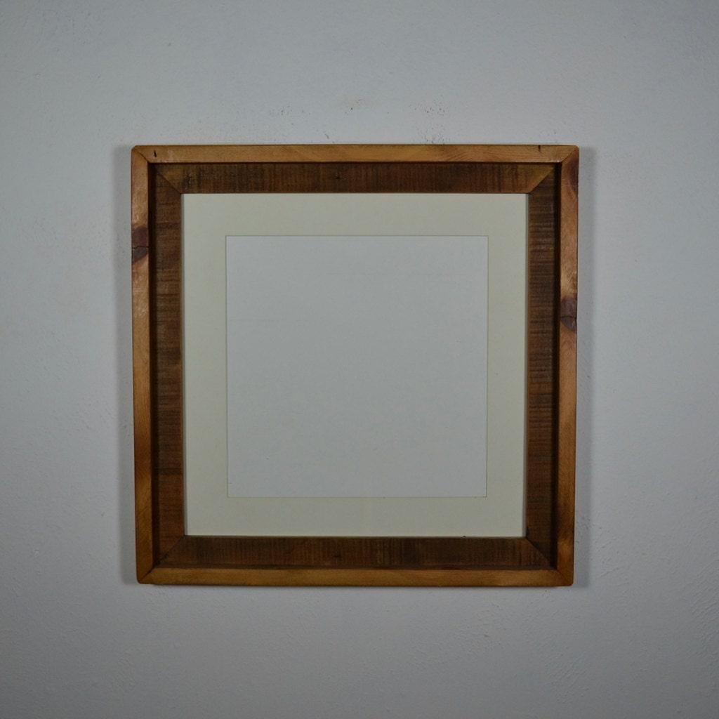 16x16 Reclaimed Wood Frame Off White 12x12 Mat By Barnwood4u