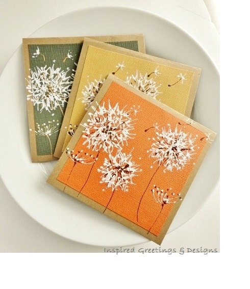 Fall Stationery Dandelion Art Cards, Hand Painted Greeting Card Set, Original Artwork, Autumn, Blank Cards, Painted Cards, ooak - InspiredGreetingsAD