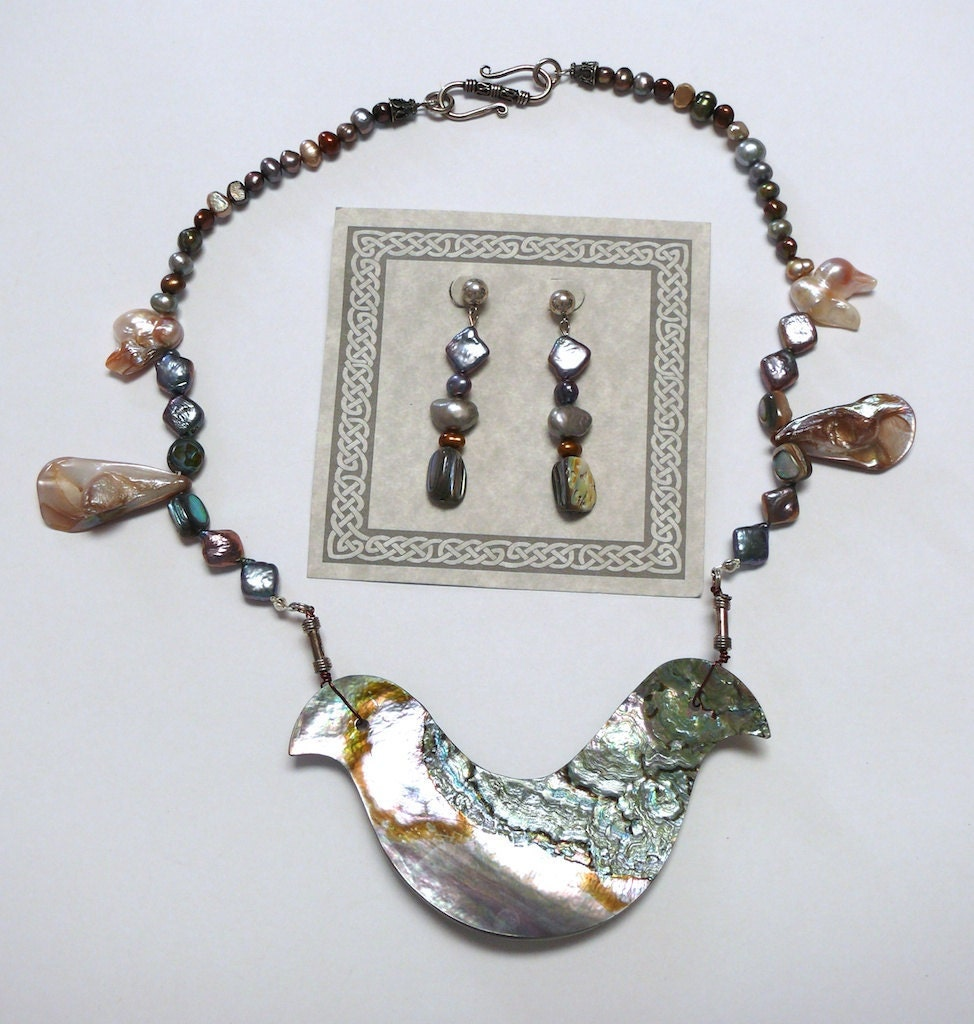 Abalone and pearl necklace and earring set