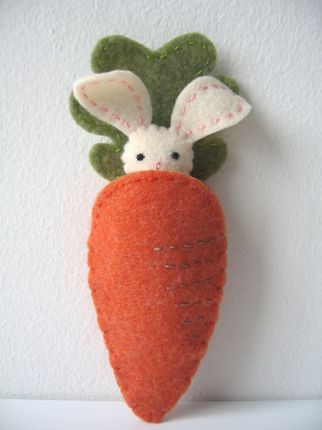 Itty Bitty Pocket Bunny with Carrot Pouch -  Pink Tail