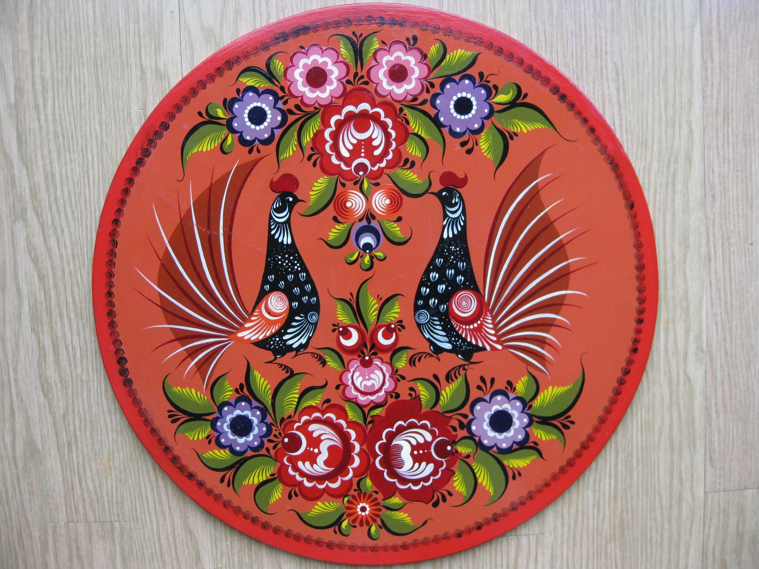 Wall Decor -Russian Folk Art - Gorodets painting - Vintage Big Wall Plate -Russian folk art -Wall Decor -Russian Style -Decorative Painting