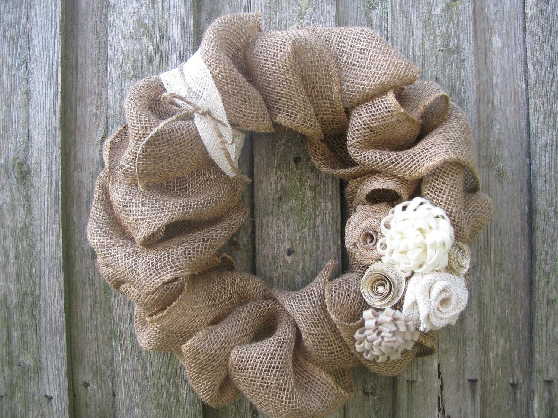 "Winter White Rosettes & Burlap Wreath - 15"" - TheRuffledPage"